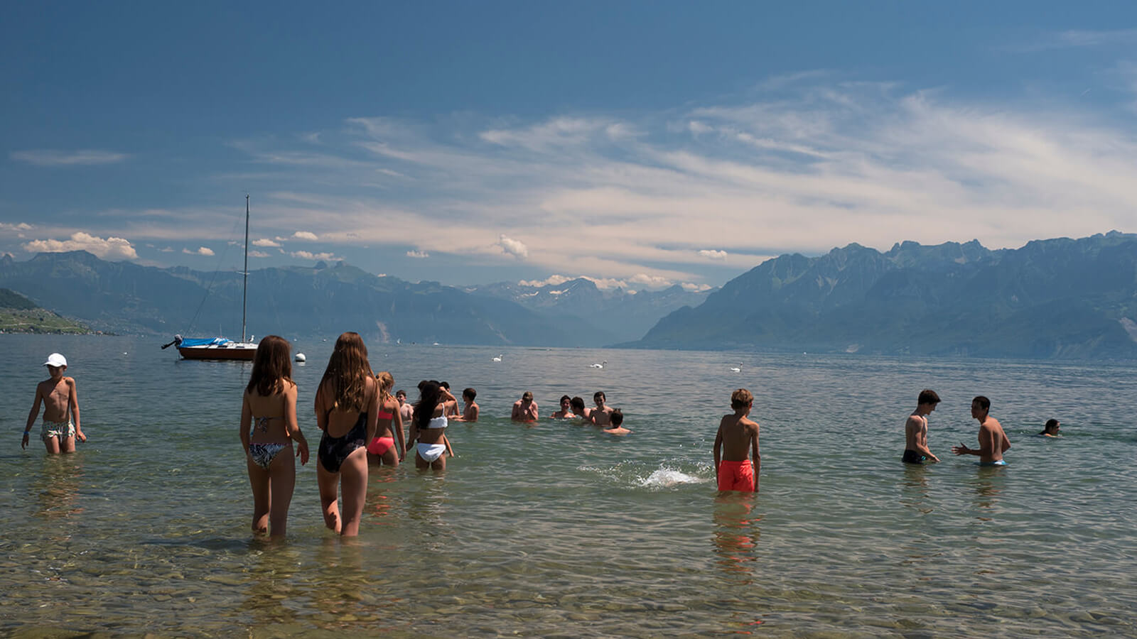 First day swimming at Swiss Summer Leadership Camp